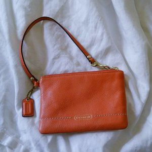 Coach Peach Orange Card Key Holder Mini Wallet